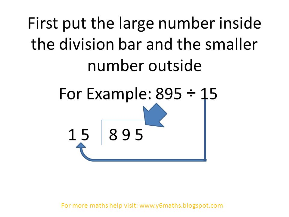 First put the large number inside the division bar and the smaller number outside For Example: 895 ÷ 15 8 9 51 5 For more maths help visit: www.y6maths.blogspot.com