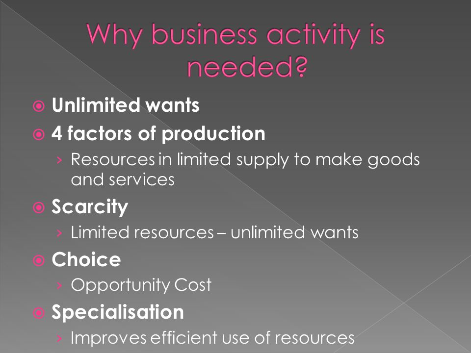  Unlimited wants  4 factors of production › Resources in limited supply to make goods and services  Scarcity › Limited resources – unlimited wants