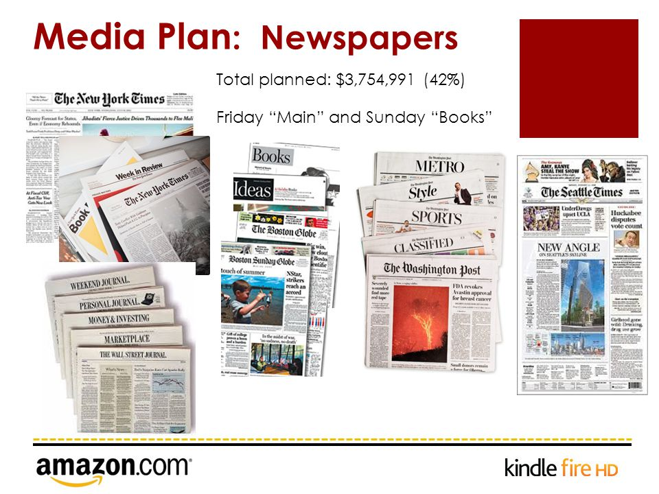 Media Plan : Newspapers Total planned: $3,754,991 (42%) Friday Main and Sunday Books
