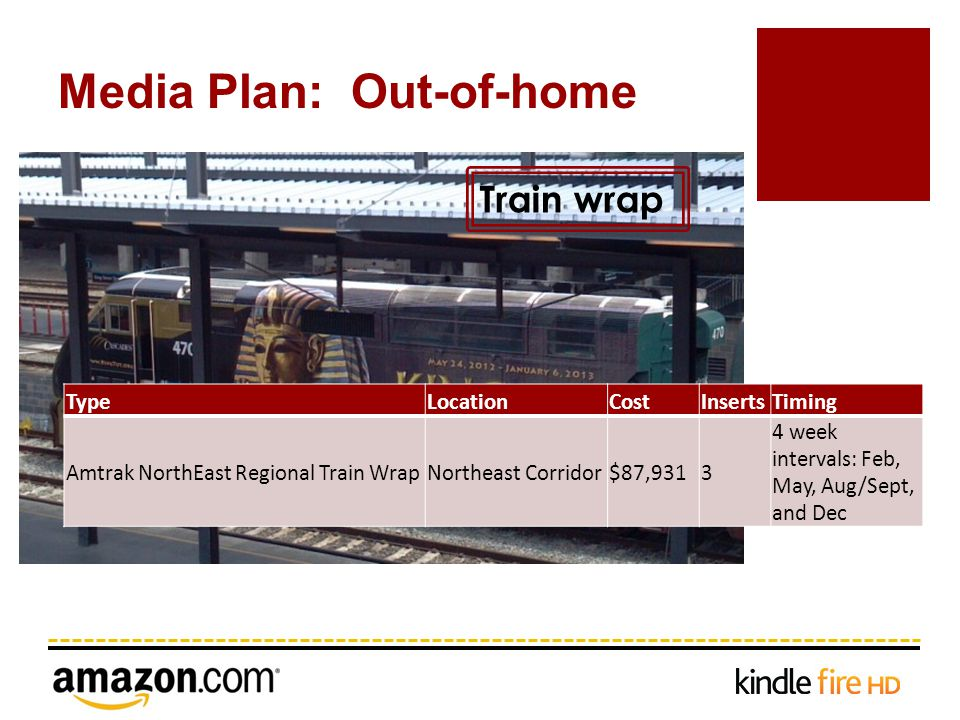 Media Plan: Out-of-home Train wrap TypeLocationCostInsertsTiming Amtrak NorthEast Regional Train WrapNortheast Corridor$87,9313 4 week intervals: Feb, May, Aug/Sept, and Dec
