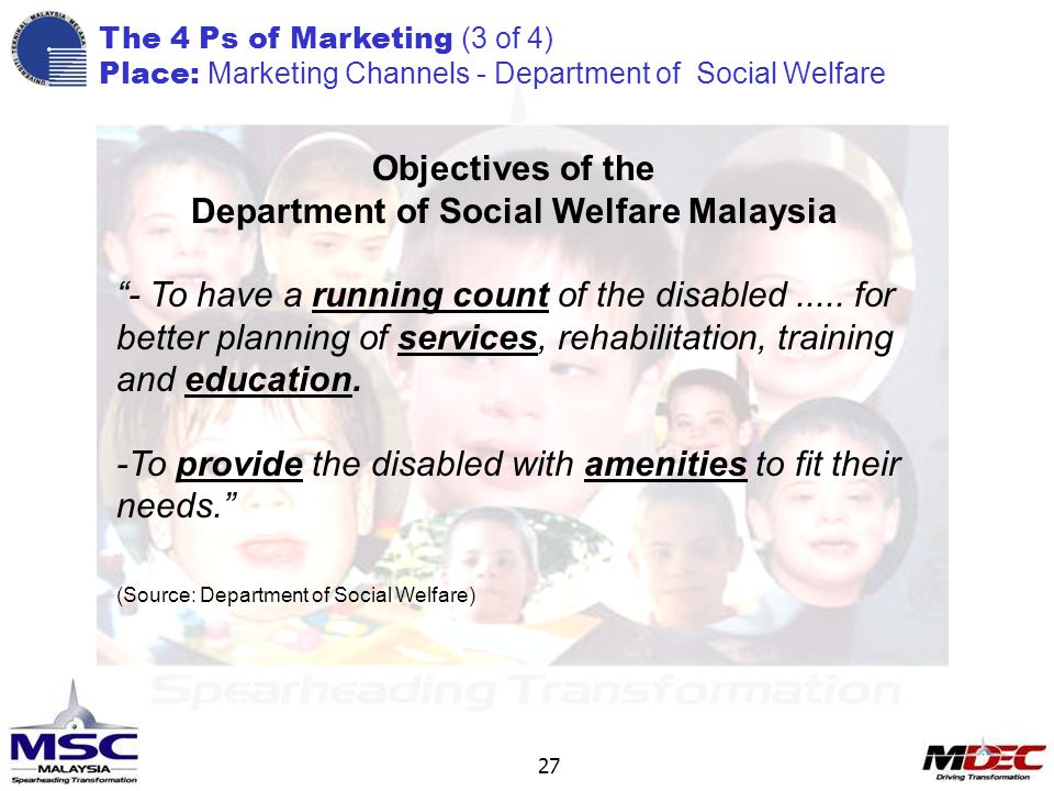 27 Objectives of the Department of Social Welfare Malaysia - To have a running count of the disabled.....