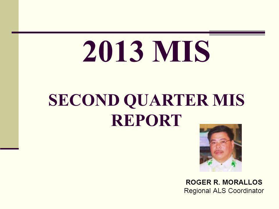 2013 MIS SECOND QUARTER MIS REPORT ROGER R. MORALLOS Regional ALS Coordinator