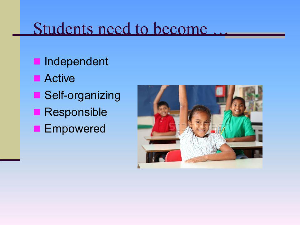 Students need to become … Independent Active Self-organizing Responsible Empowered