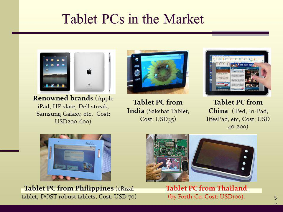 Tablet PCs in the Market Renowned brands ( Apple iPad, HP slate, Dell streak, Samsung Galaxy, etc, Cost: USD200-600) Tablet PC from India (Sakshat Tablet, Cost: USD35) Tablet PC from China (iPed, in-Pad, lifesPad, etc, Cost: USD 40-200) Tablet PC from Philippines (eRizal tablet, DOST robust tablets, Cost: USD 70) Tablet PC from Thailand (by Forth Co.