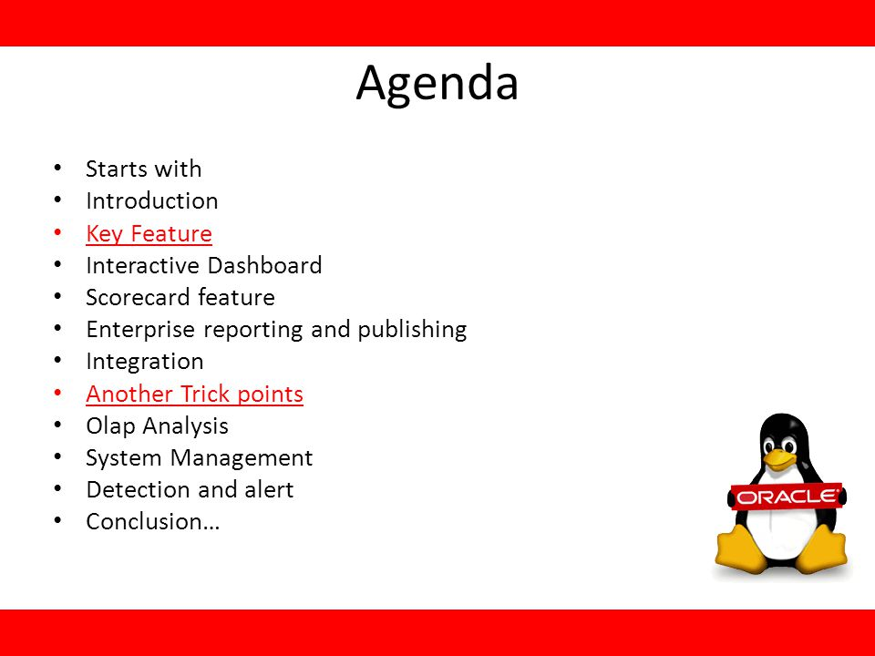 Agenda Starts with Introduction Key Feature Interactive Dashboard Scorecard feature Enterprise reporting and publishing Integration Another Trick points Olap Analysis System Management Detection and alert Conclusion…