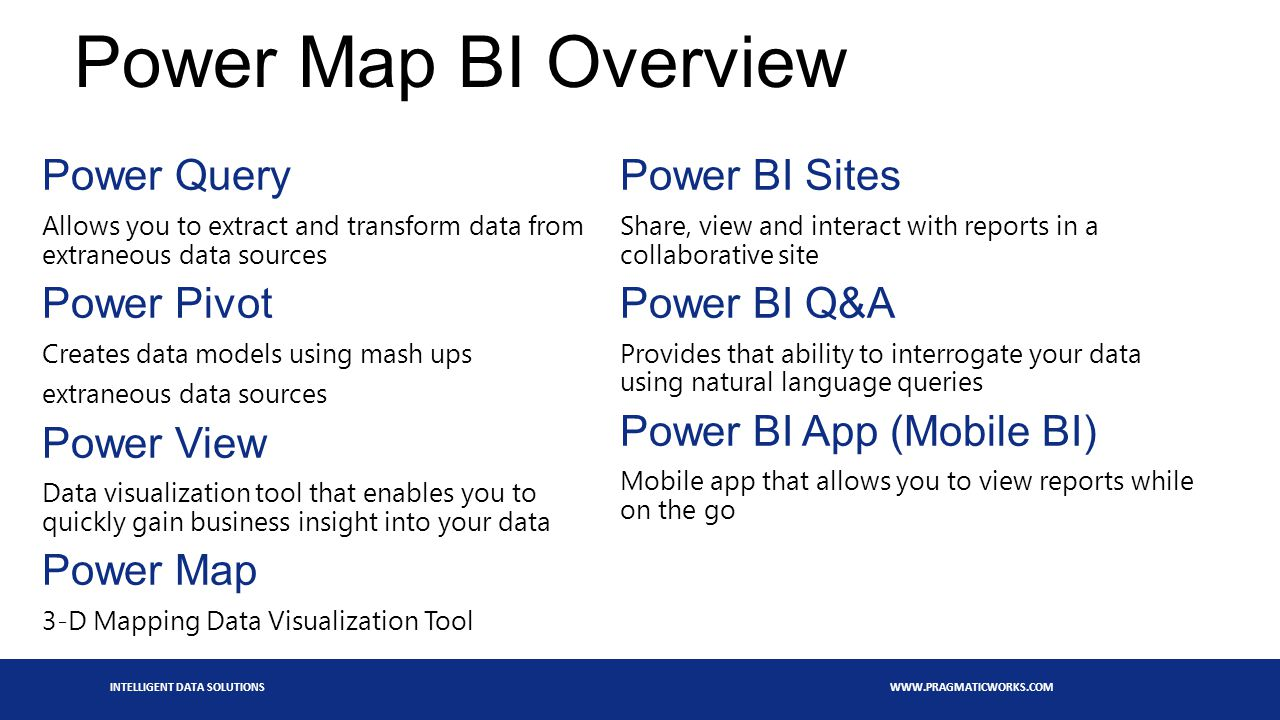 INTELLIGENT DATA SOLUTIONS WWW.PRAGMATICWORKS.COM Power Map BI Overview Power Query Allows you to extract and transform data from extraneous data sources Power Pivot Creates data models using mash ups extraneous data sources Power View Data visualization tool that enables you to quickly gain business insight into your data Power Map 3-D Mapping Data Visualization Tool Power BI Sites Share, view and interact with reports in a collaborative site Power BI Q&A Provides that ability to interrogate your data using natural language queries Power BI App (Mobile BI) Mobile app that allows you to view reports while on the go