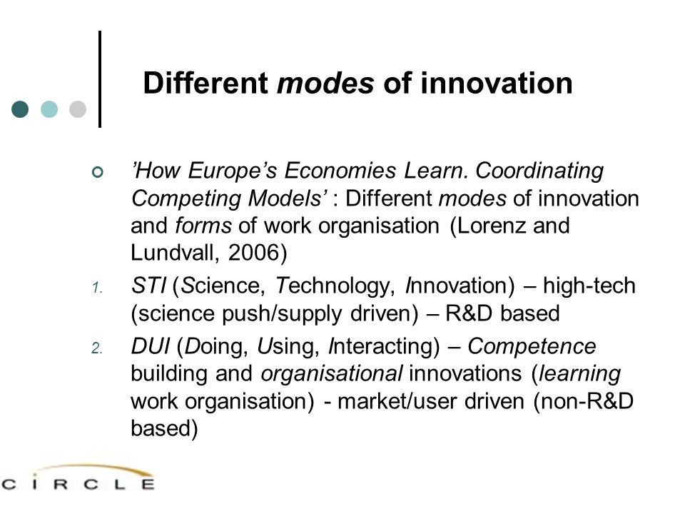 Different modes of innovation 'How Europe's Economies Learn. Coordinating Competing Models' : Different modes of innovation and forms of work organisa