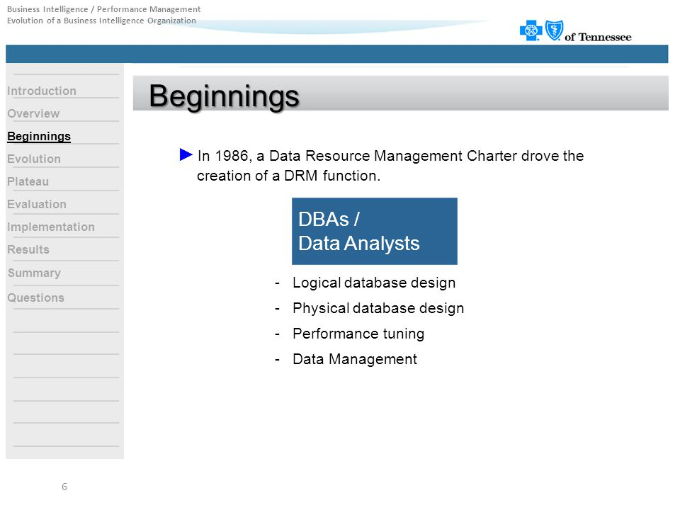 Beginnings ► In 1986, a Data Resource Management Charter drove the creation of a DRM function. DBAs / Data Analysts - Logical database design - Physic