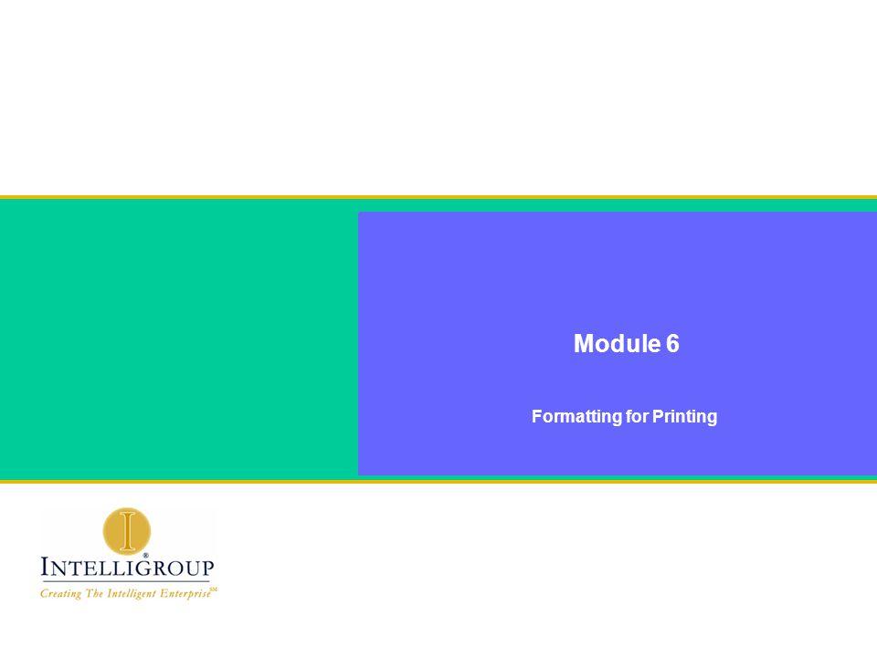 Module 6 Formatting for Printing