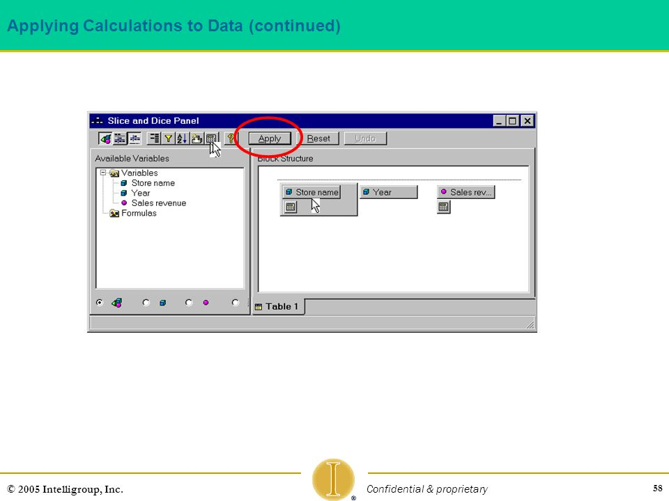 58 © 2005 Intelligroup, Inc. Confidential & proprietary Applying Calculations to Data (continued)