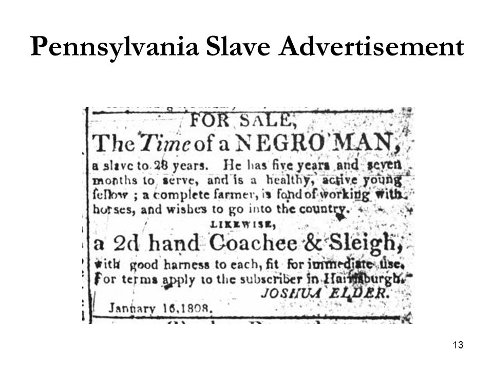 13 Pennsylvania Slave Advertisement