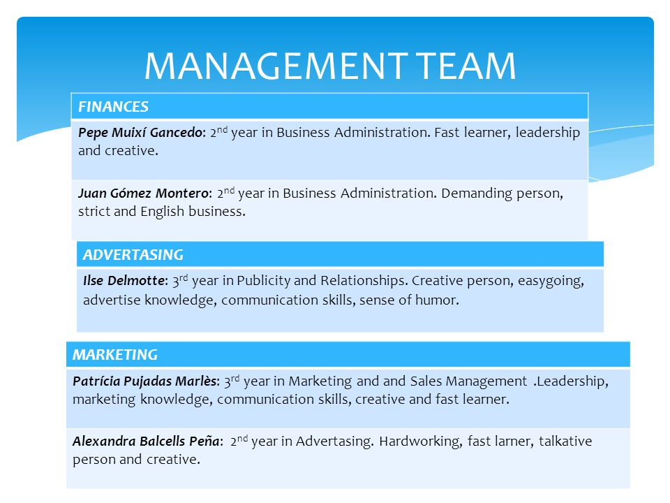 MANAGEMENT TEAM FINANCES Pepe Muixí Gancedo: 2 nd year in Business Administration.