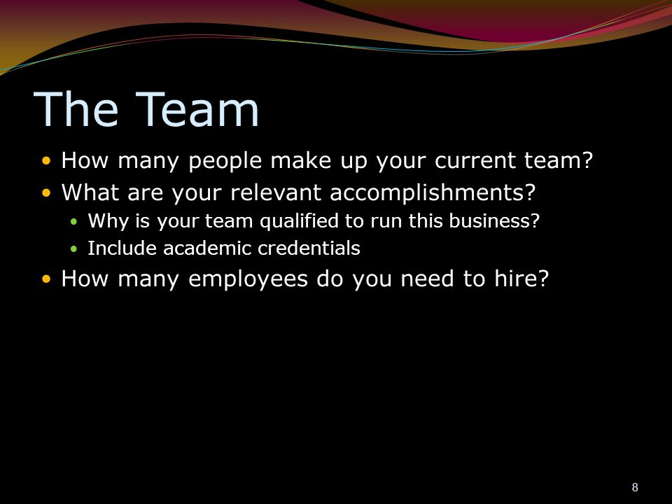 The Team How many people make up your current team? What are your relevant accomplishments? Why is your team qualified to run this business? Include a
