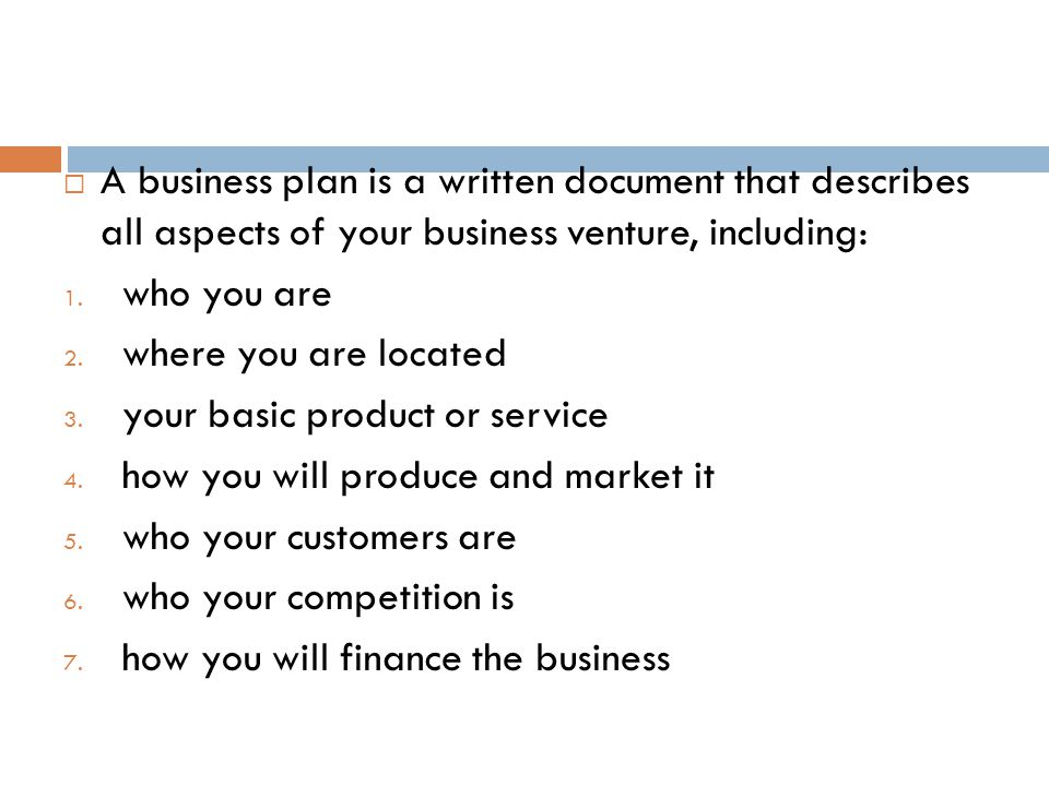 The Key Elements of a Business Plan  Part A: Background Information A.