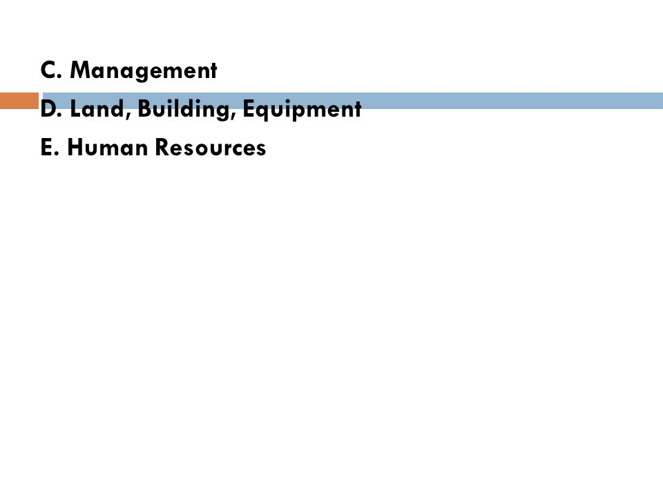 C. Management D. Land, Building, Equipment E. Human Resources