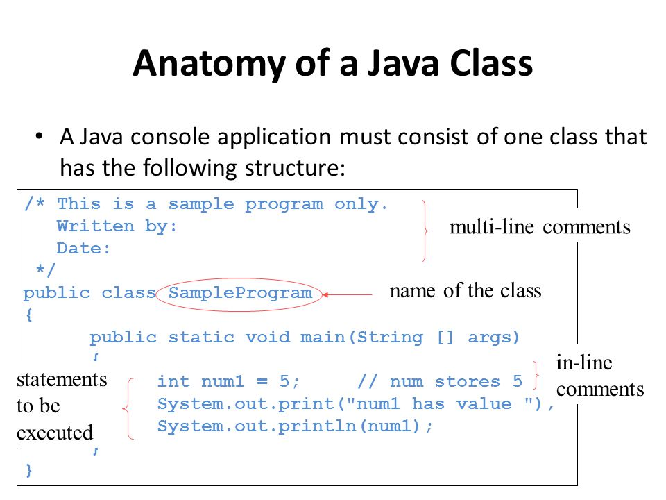Anatomy of a Java Class A Java console application must consist of one class that has the following structure: /* This is a sample program only.