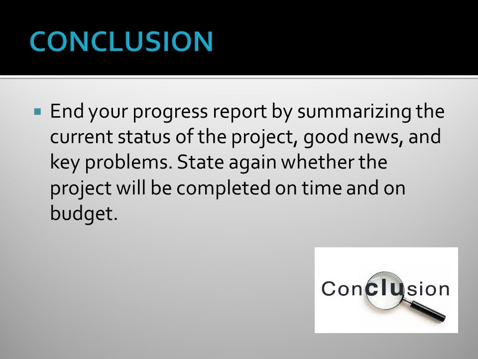  End your progress report by summarizing the current status of the project, good news, and key problems.