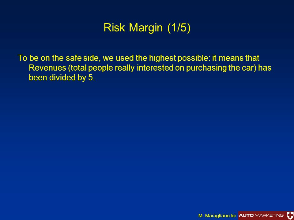 Risk Margin (1/5) To be on the safe side, we used the highest possible: it means that Revenues (total people really interested on purchasing the car) has been divided by 5.