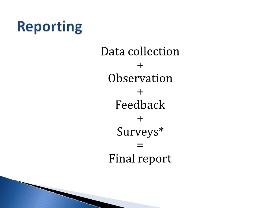 Data collection + Observation + Feedback + Surveys* = Final report
