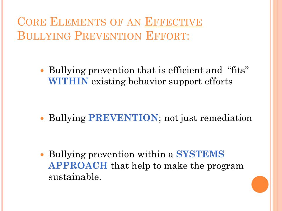 C ORE E LEMENTS OF AN E FFECTIVE B ULLYING P REVENTION E FFORT : Bullying prevention that is efficient and fits WITHIN existing behavior support efforts Bullying PREVENTION ; not just remediation Bullying prevention within a SYSTEMS APPROACH that help to make the program sustainable.