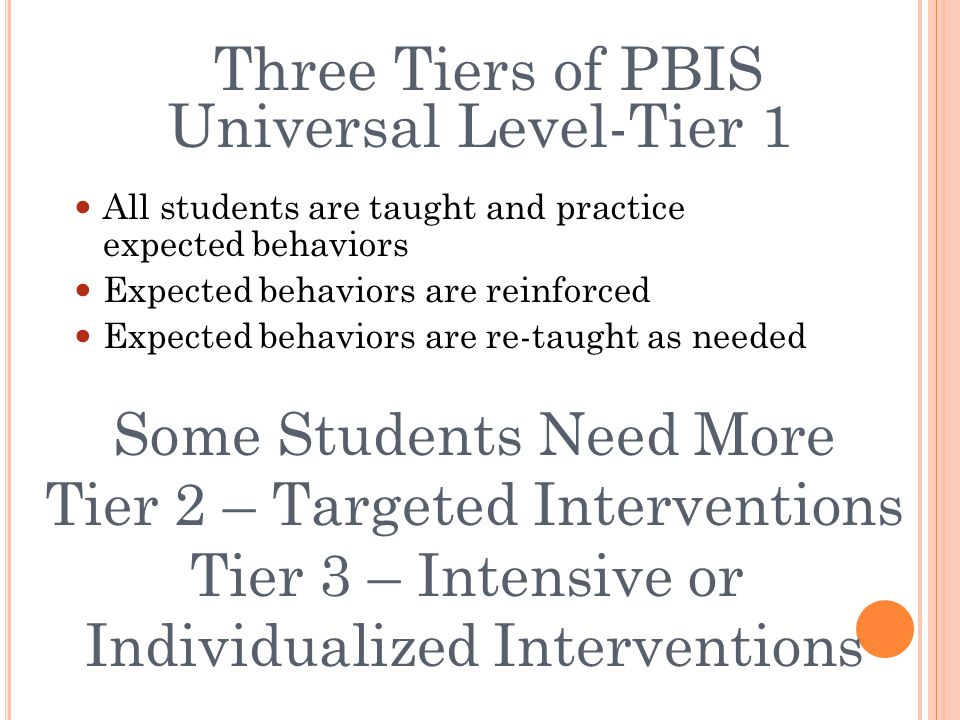 Three Tiers of PBIS Universal Level-Tier 1 All students are taught and practice expected behaviors Expected behaviors are reinforced Expected behaviors are re-taught as needed Some Students Need More Tier 2 – Targeted Interventions Tier 3 – Intensive or Individualized Interventions