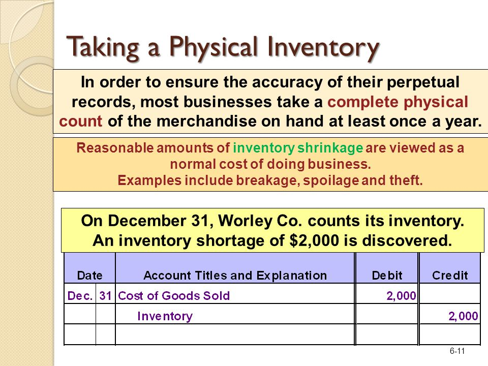 6-11 In order to ensure the accuracy of their perpetual records, most businesses take a complete physical count of the merchandise on hand at least on