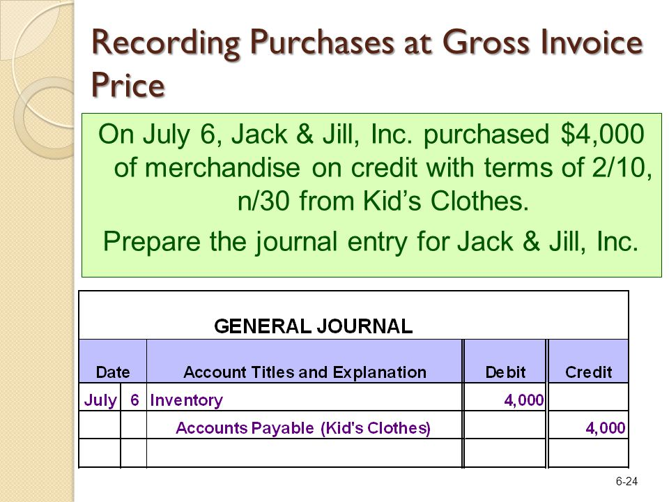 6-24 Recording Purchases at Gross Invoice Price On July 6, Jack & Jill, Inc. purchased $4,000 of merchandise on credit with terms of 2/10, n/30 from K