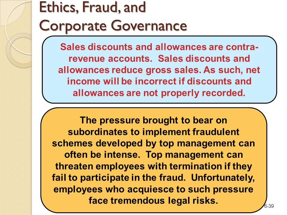 6-39 Ethics, Fraud, and Corporate Governance Sales discounts and allowances are contra- revenue accounts. Sales discounts and allowances reduce gross