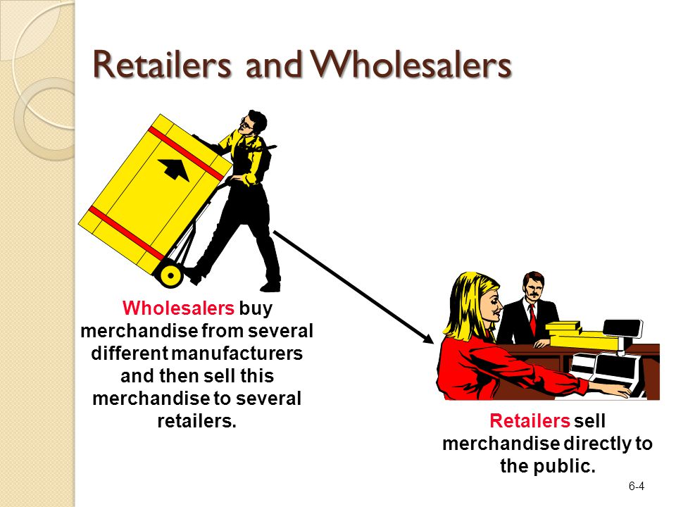 6-4 Retailers and Wholesalers Retailers sell merchandise directly to the public. Wholesalers buy merchandise from several different manufacturers and