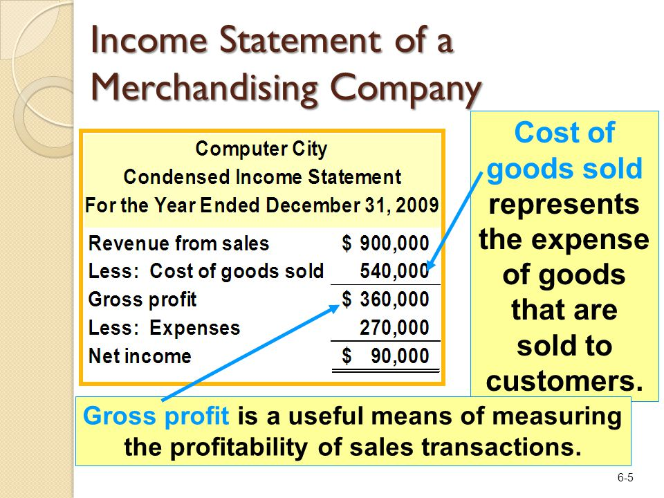 6-5 Income Statement of a Merchandising Company Cost of goods sold represents the expense of goods that are sold to customers. Gross profit is a usefu