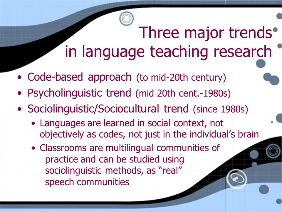 Three major trends in language teaching research Code-based approach (to mid-20th century) Psycholinguistic trend (mid 20th cent.-1980s) Sociolinguistic/Sociocultural trend (since 1980s) Languages are learned in social context, not objectively as codes, not just in the individual's brain Classrooms are multilingual communities of practice and can be studied using sociolinguistic methods, as real speech communities Code-based approach (to mid-20th century) Psycholinguistic trend (mid 20th cent.-1980s) Sociolinguistic/Sociocultural trend (since 1980s) Languages are learned in social context, not objectively as codes, not just in the individual's brain Classrooms are multilingual communities of practice and can be studied using sociolinguistic methods, as real speech communities