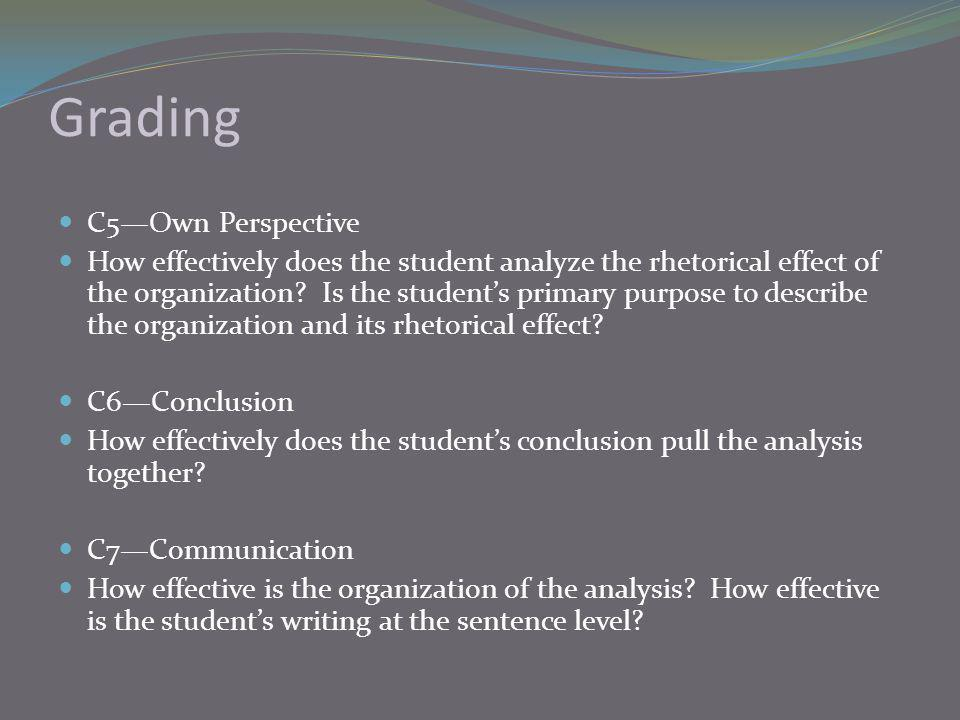 Grading C5—Own Perspective How effectively does the student analyze the rhetorical effect of the organization.