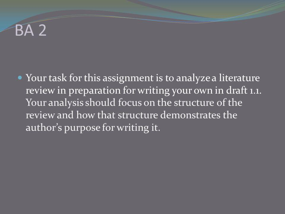 BA 2 Your task for this assignment is to analyze a literature review in preparation for writing your own in draft 1.1.
