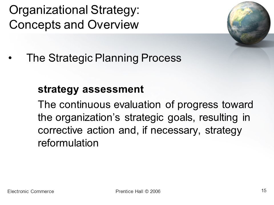 Electronic CommercePrentice Hall © 2006 15 Organizational Strategy: Concepts and Overview The Strategic Planning Process strategy assessment The conti
