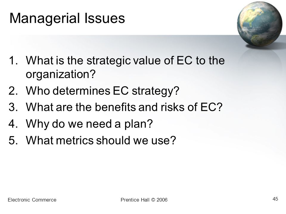 Electronic CommercePrentice Hall © 2006 45 Managerial Issues 1.What is the strategic value of EC to the organization? 2.Who determines EC strategy? 3.
