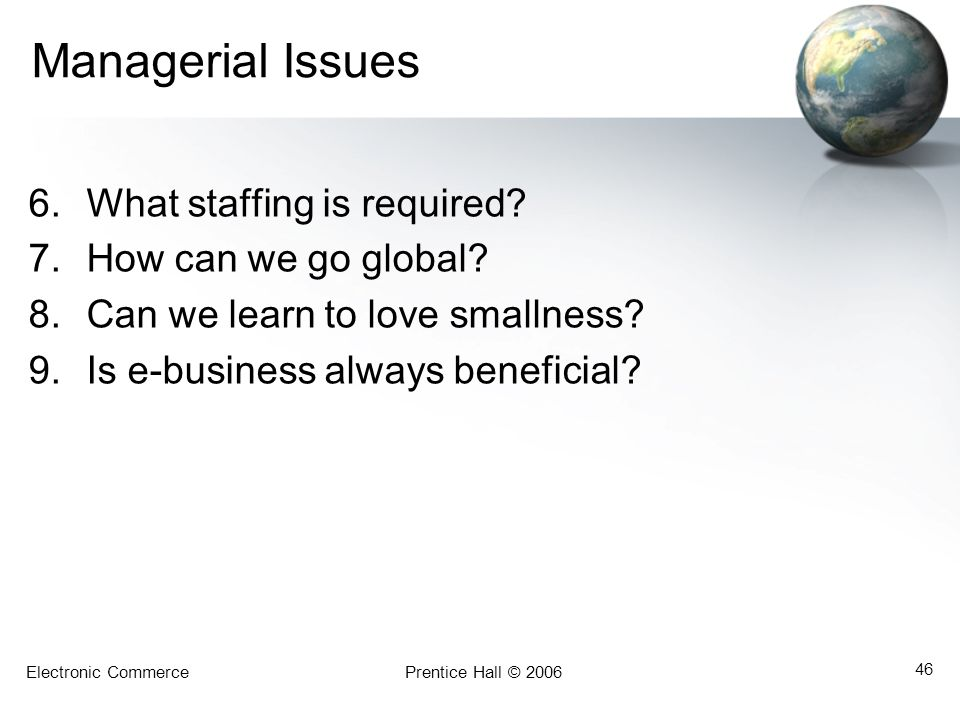 Electronic CommercePrentice Hall © 2006 46 Managerial Issues 6.What staffing is required? 7.How can we go global? 8.Can we learn to love smallness? 9.