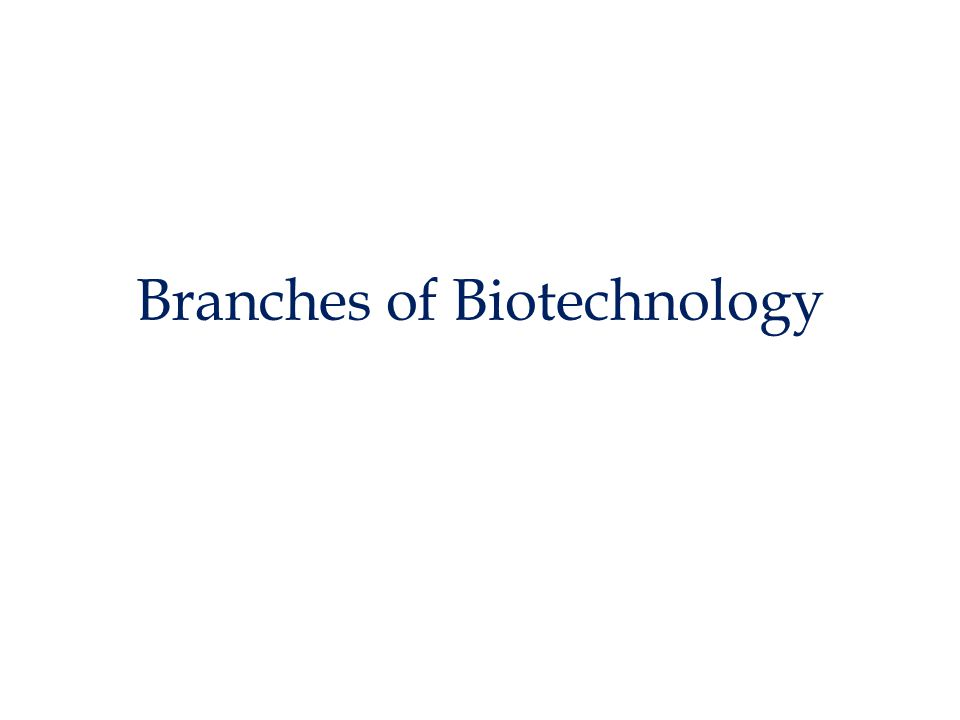 Branches of Biotechnology