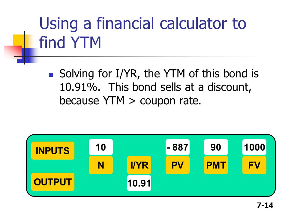 7-14 Using a financial calculator to find YTM Solving for I/YR, the YTM of this bond is 10.91%. This bond sells at a discount, because YTM > coupon ra