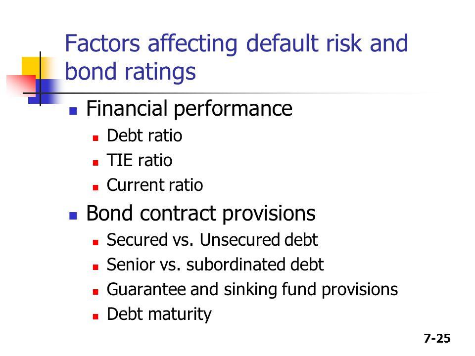 7-25 Factors affecting default risk and bond ratings Financial performance Debt ratio TIE ratio Current ratio Bond contract provisions Secured vs. Uns