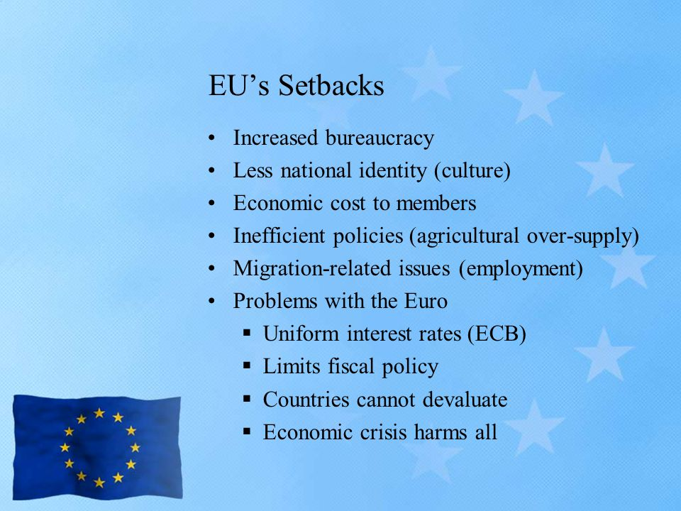 EU's Setbacks Increased bureaucracy Less national identity (culture) Economic cost to members Inefficient policies (agricultural over-supply) Migration-related issues (employment) Problems with the Euro  Uniform interest rates (ECB)  Limits fiscal policy  Countries cannot devaluate  Economic crisis harms all