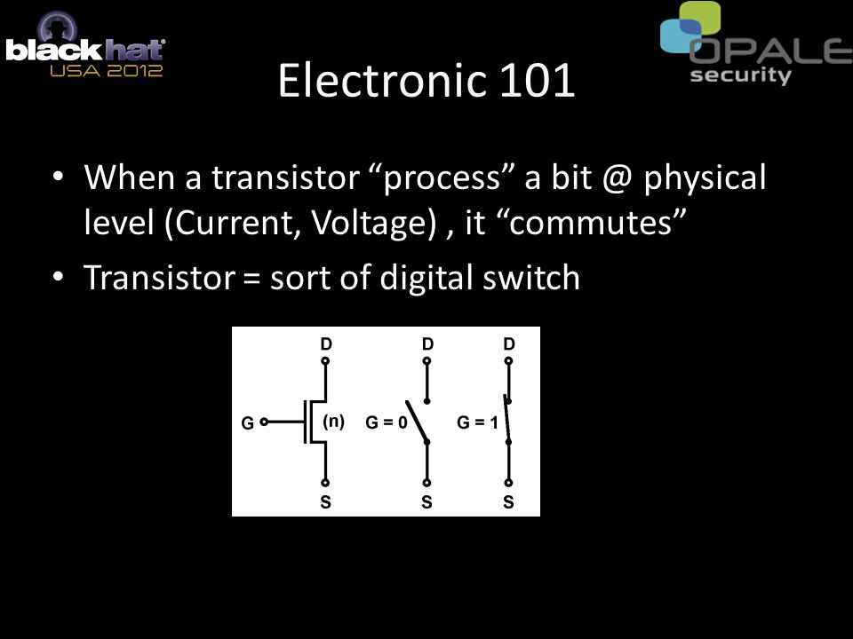 Electronic 101 When a transistor process a bit @ physical level (Current, Voltage), it commutes Transistor = sort of digital switch