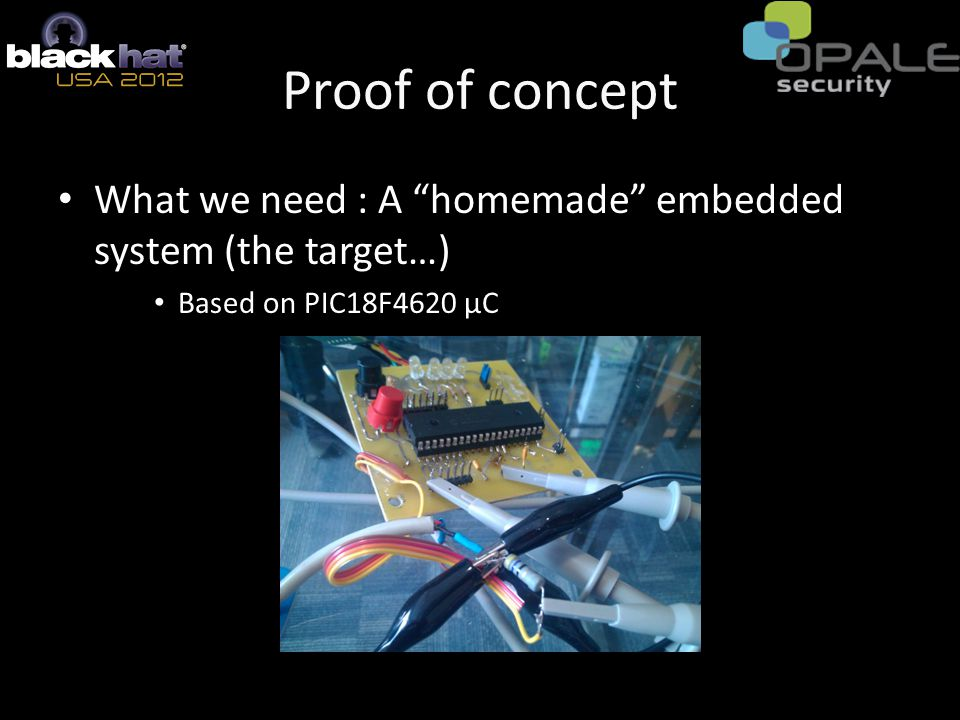Proof of concept What we need : A homemade embedded system (the target…) Based on PIC18F4620 µC