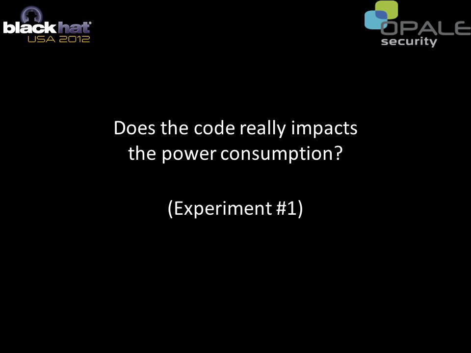 Does the code really impacts the power consumption? (Experiment #1)
