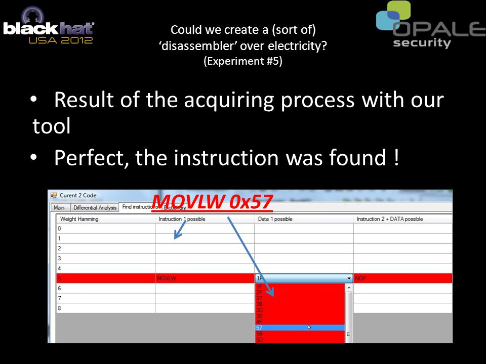Result of the acquiring process with our tool Perfect, the instruction was found .