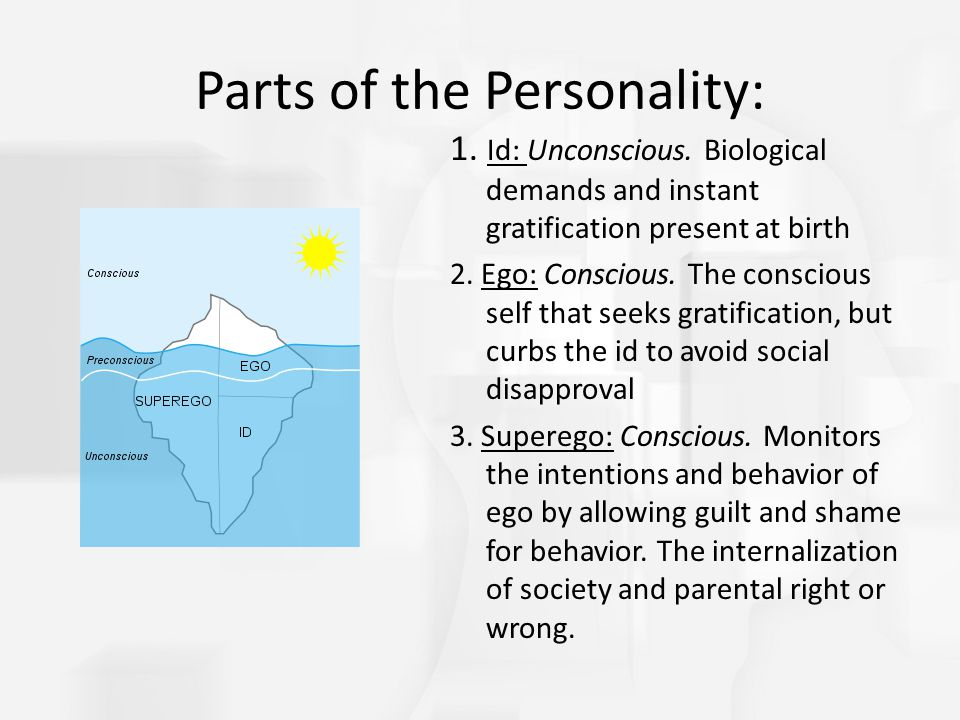 Parts of the Personality: 1. Id: Unconscious. Biological demands and instant gratification present at birth 2. Ego: Conscious. The conscious self that