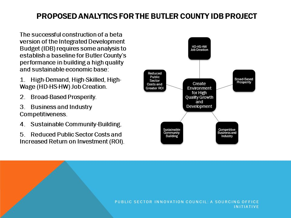 PROPOSED ANALYTICS FOR THE BUTLER COUNTY IDB PROJECT The successful construction of a beta version of the Integrated Development Budget (IDB) requires some analysis to establish a baseline for Butler County's performance in building a high quality and sustainable economic base: 1.High-Demand, High-Skilled, High- Wage (HD-HS-HW) Job Creation.