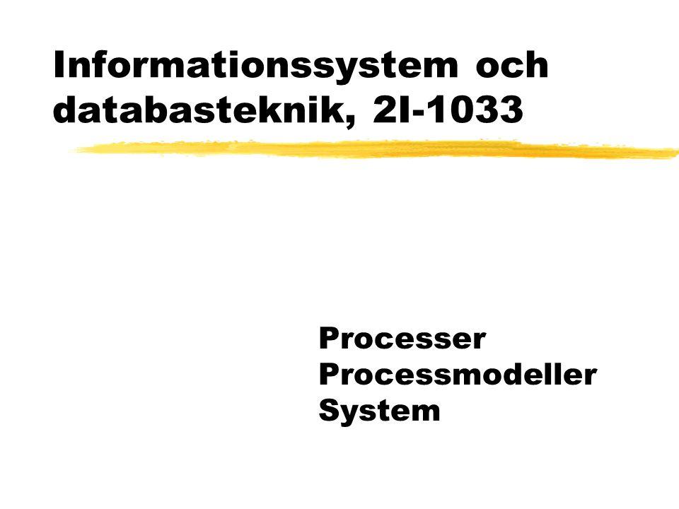 Informationssystem och databasteknik, 2I-1033 Processer Processmodeller System