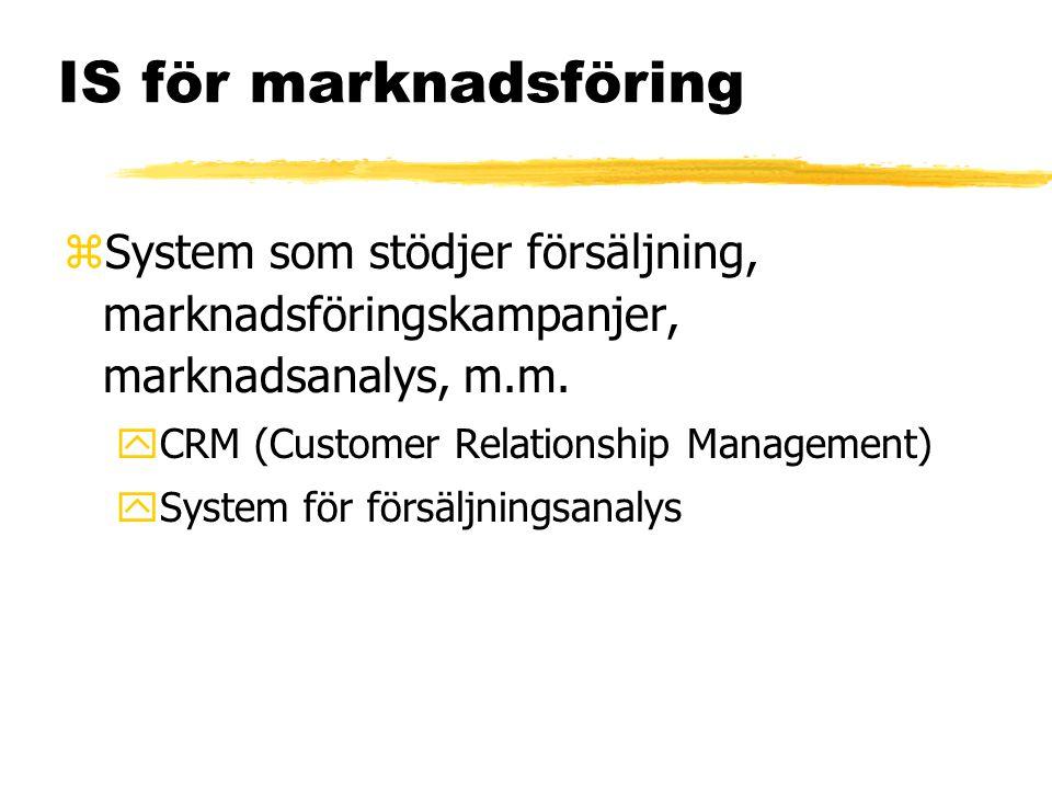 IS för marknadsföring zSystem som stödjer försäljning, marknadsföringskampanjer, marknadsanalys, m.m. yCRM (Customer Relationship Management) ySystem
