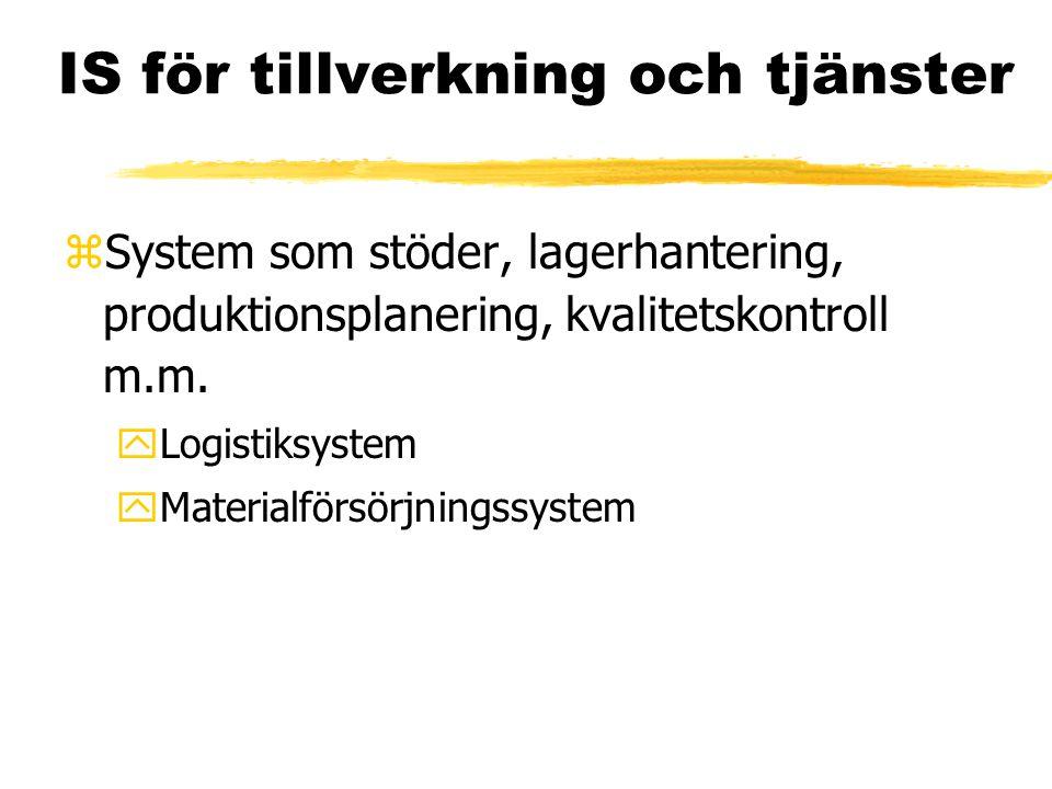 IS för tillverkning och tjänster zSystem som stöder, lagerhantering, produktionsplanering, kvalitetskontroll m.m. yLogistiksystem yMaterialförsörjning