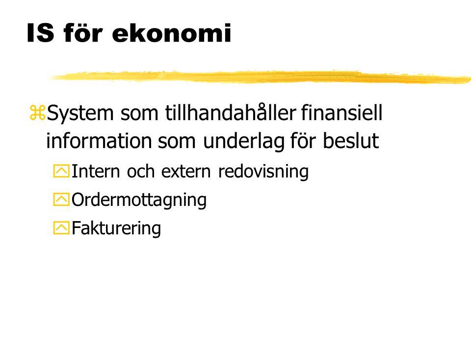 IS för ekonomi zSystem som tillhandahåller finansiell information som underlag för beslut yIntern och extern redovisning yOrdermottagning yFakturering